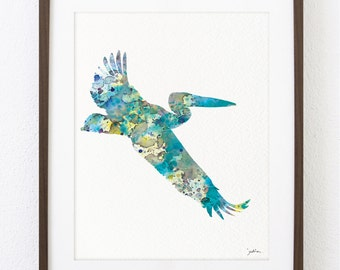 Blue Pelican Watercolor Print - 8x10 Archival Print - Painting, Pelican Art Print - Watercolor Art, Wall Decor Art Home Decor Housewares