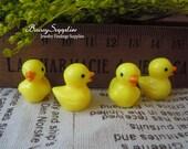 10Pcs 17x16x13mm mini tiny Yellow Duck Animal  Resin Cabochon pendants / for Grass Bottle ball Decoration (p031Duck)
