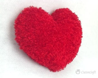 "12"" Heart pillow : Share your love! Red Heart Silky Furry Pillow, Valentines Day Gift"