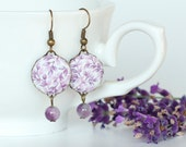 Dangle Earrings - Lavender, Lavender - Purple Flowers and Leaves with Amethyst Beads -  Romantic Provence Fabric Covered Buttons Earrings