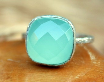 Aqua Blue Gemstone Ring - Aqua Blue Bezel Ring - Mint - Aqua Blue Chalcedony - Sterling Silver Aqua Blue Gemstone - Size 4 5 6 7 8 9 10
