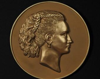 Bronze Woman face sculpture - wall cameo - decorative art - woman figure