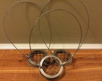 3 Regular Silver or Gold Band Hanging Mason Jar Holder