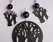 Laser cut tree pattern pendant and earring set