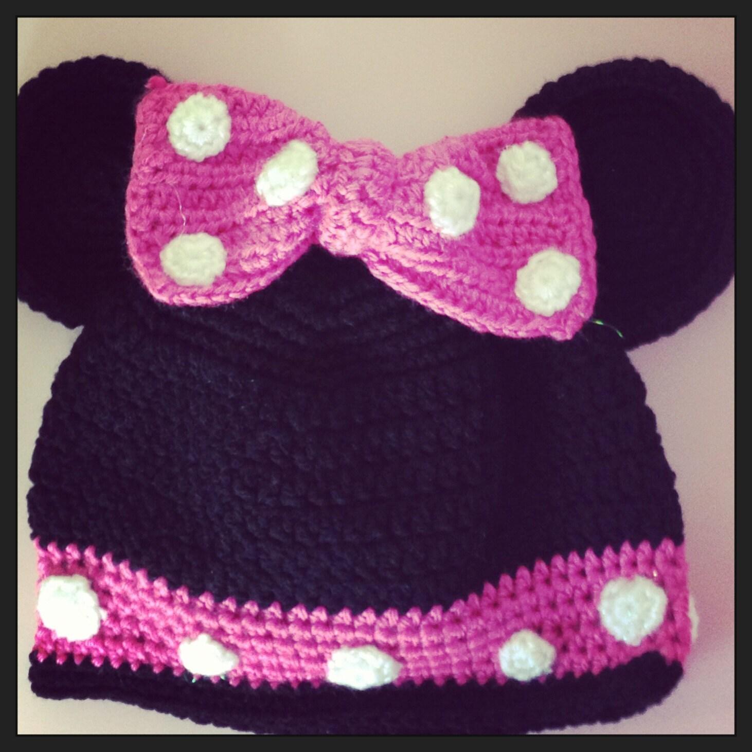 Minnie Mouse Crochet Hat Pattern Child : Crochet Minnie Mouse Hat Childrens or Infants Minnie Mouse