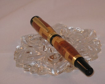 Segmented TITAN  Roller Ball Pen( Maple, Rosewood and Wenge)(24Kt Gold finish)--include a Burgundy Artisan Cabretta  PenBox