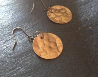Gold, brass, disc, drop earrings