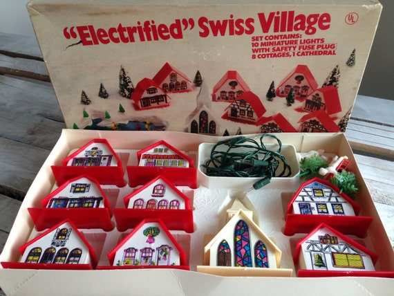 Vintage Electrified Swiss Village 1960s Christmas Decor