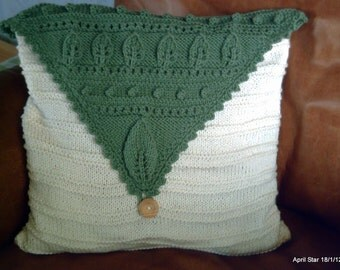 Hand knit Aran cushion cover pillow cover pillow sham with contrast leaf over flap design