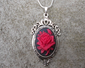 """Stunning Red Rose Cameo Pendant Necklace---.925 plated 22"""" Chain--- Great Quality"""