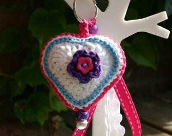 Crocheted keychain white