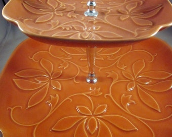 Vintage 2-tiered serving platter made in USA