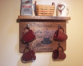 BIG SUMMER SALE Coffee Cup Rack and Shelf...Rustic Wood Coffee Cup Rack ...Wood Coffee Cup Holder