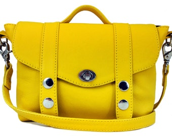 Yellow Leather 'Mini Satchel' Handbag