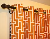 "MODERN GEOMETRIC Tangerine Grommet Curtain (One Panel 57"" width x 30"" length with Lining)"
