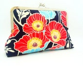 Red Poppies Sateen Clutch Purse w/ Pink Lining