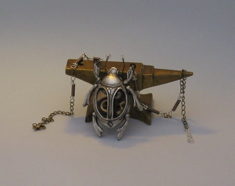 Steampunk Scarab Necklace. Handmade. Cast in Resin. Original jewellery.