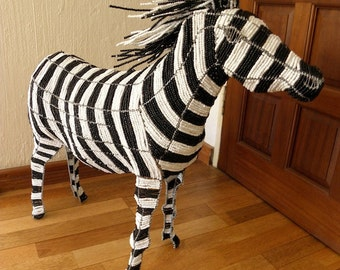 African Beaded Wire Animal Sculpture - ZEBRA X-LARGE - Black and White