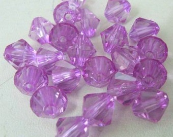 Acrylic bicone Beads - transparent violet, pck. of 200