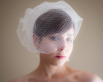 Double Layer Birdcage Wedding  Veil (Russian netting, Bridal illusion tulle, Small veil, Bird cage veil)