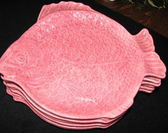 "7 ""Holland Mold"" Fish Plates - Pink / White Flake Glaze"