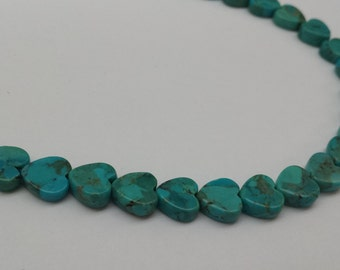 """Turquoise 8mm Heart Shaped Bead  15""""  approx  40  45 pcs"""