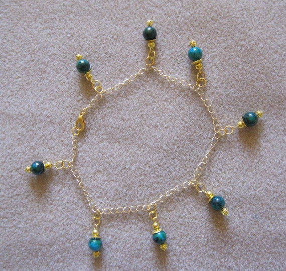 Handmade Gold Anklet with Chrysocolla