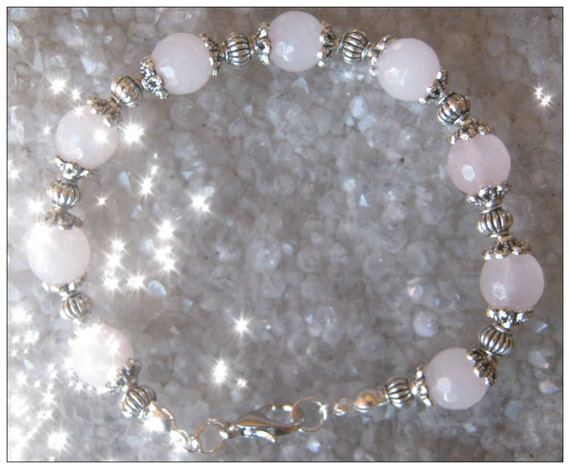 Handmade Silver Bracelet with Facetted Rose Quartz by IreneDesign2011