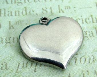 Heart Charm, Stainless Steel Heart Pendant, Set of 2 SST Findings 17x16x2.5mm heart  pendant charms Heart Charm Medium (033)