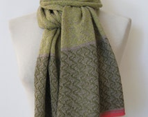 Handmade cashmere scarf/ knitted cashmere scarf/ cashmere / patterned scarf/ womans scarf/lime scarf with olive+coral borders