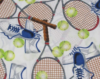 Match Point Tennis Fabric Equipment Sold By the Yard BTY 100% Cotton
