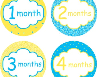 Baby Month Stickers Baby Monthly Stickers Monthly Shirt Stickers Neutral Yellow Blue Baby Shower Gift Photo Prop Milestone Sticker