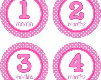 Pink Polka Dot Baby Girl Stickers, Monthly Baby Girl, Baby Girl Gift, Monthly Stickers Baby, Month by Month Stickers, Photo Stickers Monthly