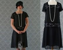 Black flapper dress with chiffon and lace, short ruffled sleeves, Gatsby dress, 1920s flapper dress, Downton Abbey dress