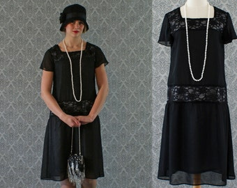 Black flapper dress with chiffon and lace, short ruffled sleeves, Gatsby dress, 1920s flapper dress, Downton Abbey dress