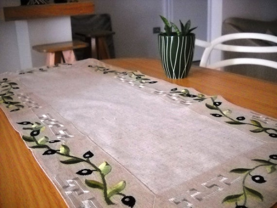 Embroidered linen table runner ecru beige with by for 85 inch table runner