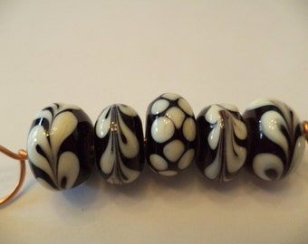 Black and Ivory lampwork glass bead set