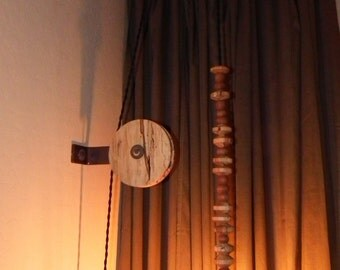 Spalted maple two-pulley pendant light