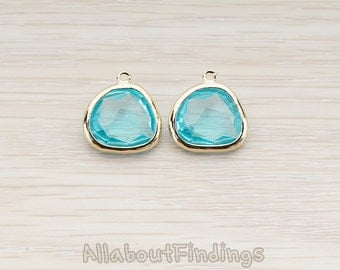 FST122-G-AQ // Glossy Gold Plated Larger Nugget Framed Aqua Stone Pendant, 2 Pc