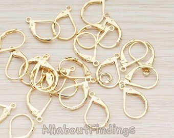 ERG658-01-G // Glossy Gold Plated Leverback Earwire, 10 Pc