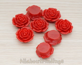 CBC038-DR // Dark Red Colored Mary Rose Flower Flat Back Cabochon, 4 Pc