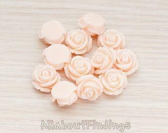 CBC141-01-PE // Peach Colored Curved Petal Rose Flower Flat Back Cabochon, 6 Pc