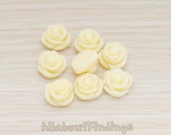 CBC3003-CR // Cream Colored Small Rose Flower Flat Back Cabochon, 4 Pc