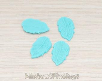CBC508-TU // Turquoise Colored Flat Leaf Flat Back Cabochon, 6 Pc