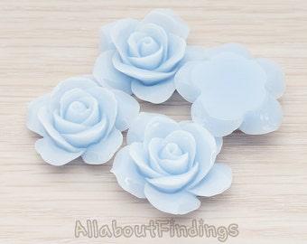 CBC189-PB // Pastel Blue Colored Rose Flower Flat Back Cabochon, 2 Pc