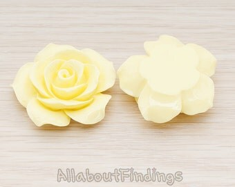 CBC157-07-MY // Milk Yellow Colored 35mm Angelique Rose Flower Flat Back Cabochon, 2 Pc