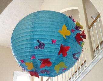 "14"" Tropical Paradise, paper lantern, butterfly lantern, butterfly decor, butterfly birthday party, hanging ceiling decorations"