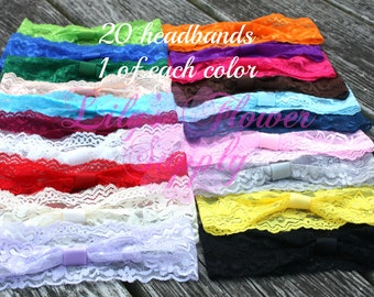 Limited Time DEAL Lace Headbands - Set of 20 One of Each Color - Interchangeable headbands - Baby headbands - Wholesale Headbands