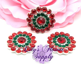 Christmas Flatback Metal Rhinestone - Red Green - Rhinestone button - Rhinestones - Embellishment - Supply - Wholesale - 25 mm