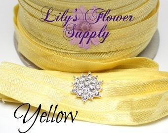5 yards - Yellow - 5/8 Fold Over Elastic - FOE - Yellow - Foldover Elastic - Elastic by the yard - Shiny Elastic - DIY - Headband